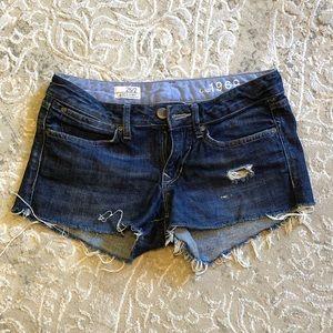 Gap 1969 denim ripped shorts 26/2 - dark
